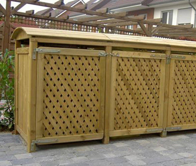 Mülltonnenbox für drei 120L-Tonnen, kesseldlruckimprägneirt natur