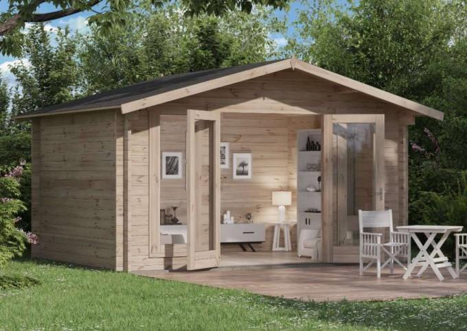 Gartenhaus Frontansicht - offen - Einrichtung nicht im Preis enthalten