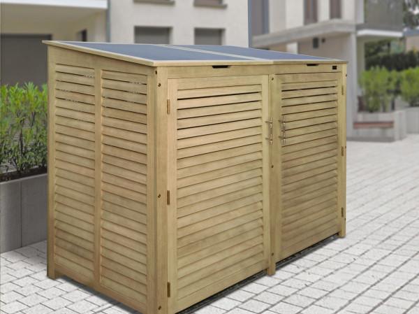 Mülltonnen Doppelbox, Eukalyptusholz grau für bis 240 L Tonnen
