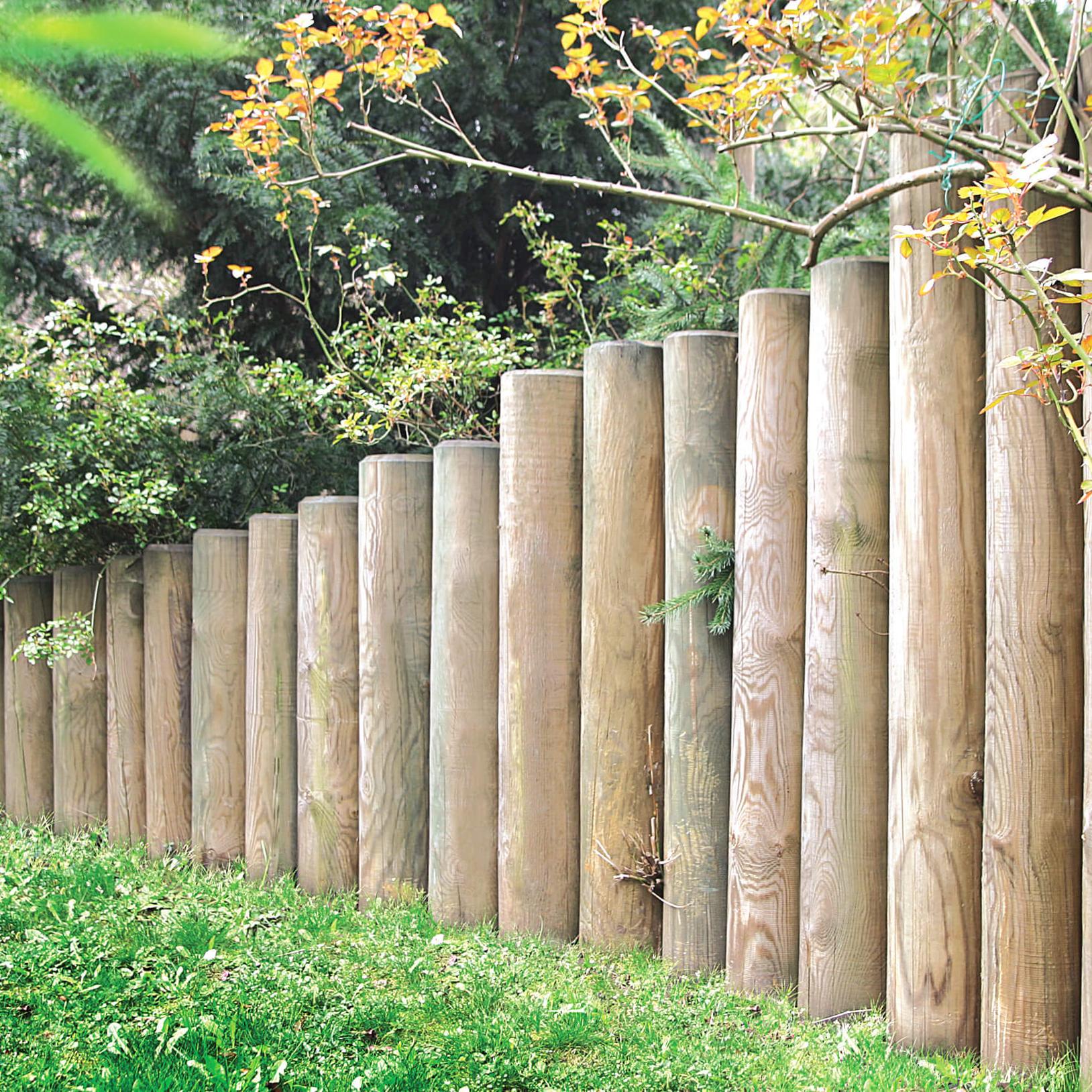 Palisaden Aus Holz : palisaden gr n druckimpr gniert durchmesser 10 cm verschiedene l ngen ~ Yuntae.com Dekorationen Ideen