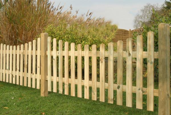 Vorgartenzaun m.Unterbogen 180 cm breit L. 18 x 90 R. 22 x 70 mm, kesseldruckimprägniert natur