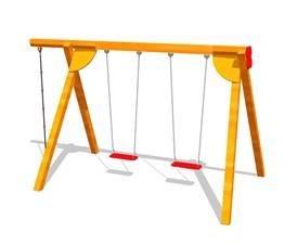 Doppelschaukel 370 x 120 x 220 cm aus Holz incl. 2 Sitzbretter und Kletterseil