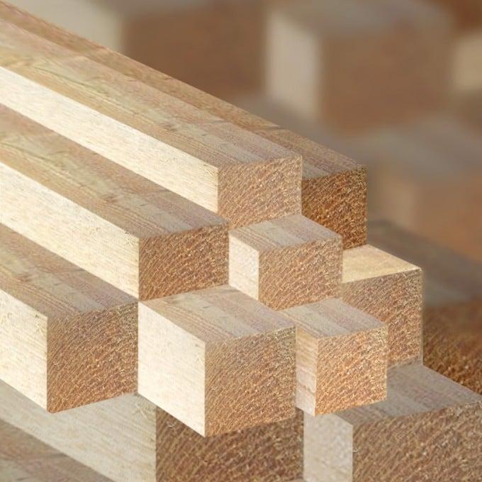 Rahmenholz 5 x 5 x 300 cm, sägerauh, künstlich getrocknet