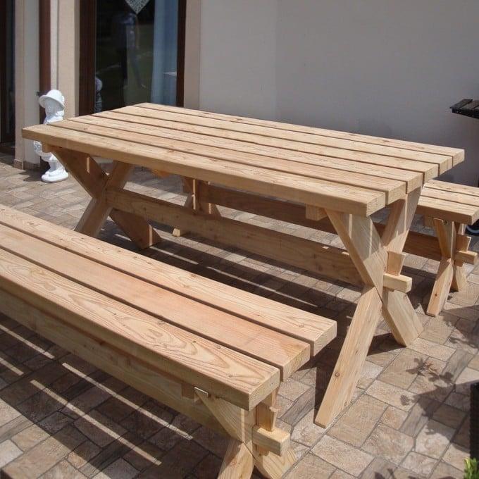 Picknickgarnitur Sunshine 1 Tisch, 2 Bänke - 178 cm, Lärche, naturbelassen