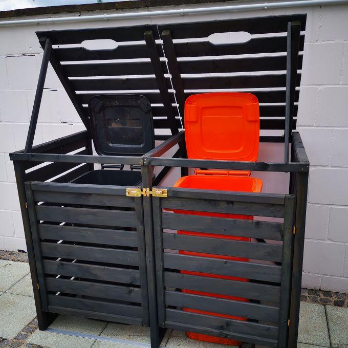 Anthrazit Mülltonnenbox - Ansicht - geöffnete Tonnen