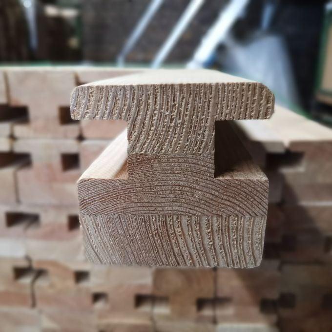 Verbindungspfosten Frontansicht - Lärche - Nutbreite und Tiefe: 2,5 cm