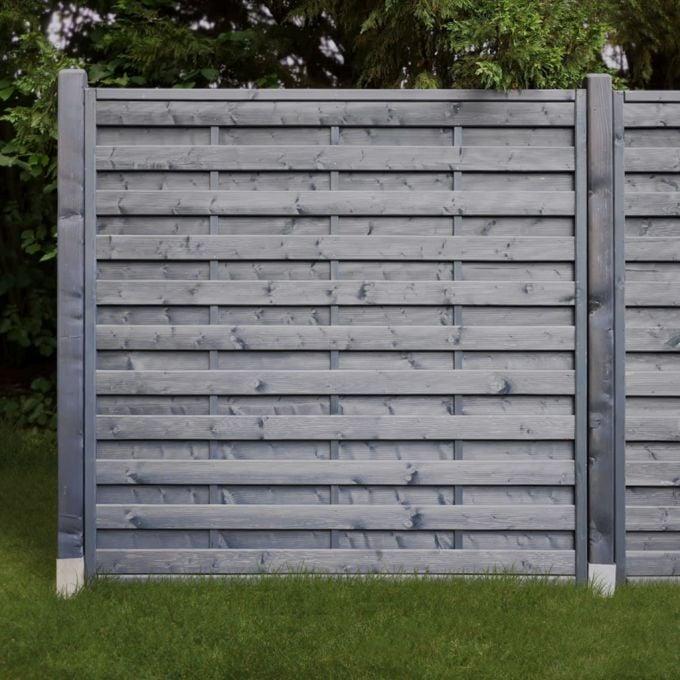 Dichtzaun 2-fach lasiert anthrazit grau 180 x 180 cm, hier mit passenden kopfgerundeten Pfostenm