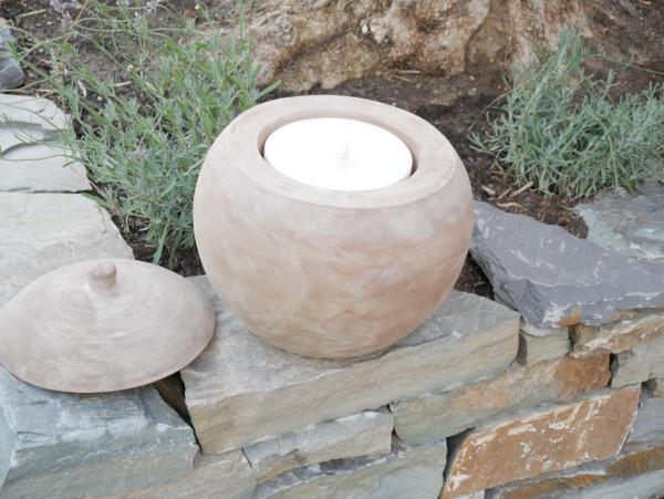 Terracotta Kugel 31 cm incl. Deckel und Kerzenwachs