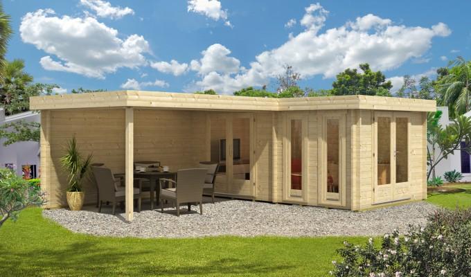 Flachdach Gartenhaus Modell Greece - 44 ISO - Frontansicht